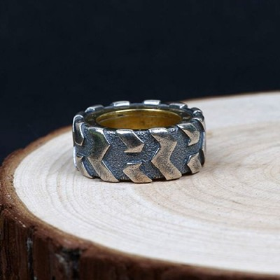 Men's Sterling Silver Tire Pinky Ring