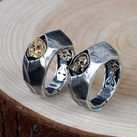 Men's Sterling Silver Inlaid Skull Ring