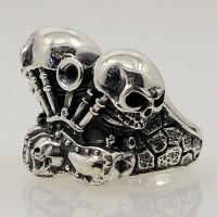 Men's Sterling Silver Engine Skulls Ring