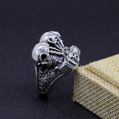Men's Sterling Silver Engine Skulls Ring
