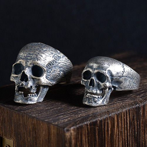 Men's Sterling Silver Skull Jaw Openable Ring