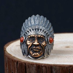 Men's Sterling Silver Indian Chief Ring