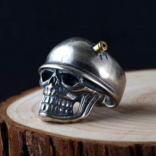 Men's Sterling Silver Bullet Skull Ring