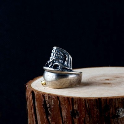Men's Sterling Silver Bullet Skull Ring