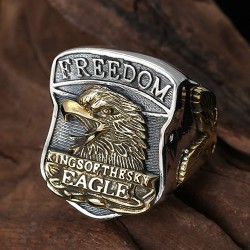 Men's Sterling Silver Freedom Eagle Ring