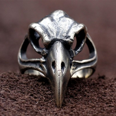 Men's Sterling Silver Raven Skull Ring