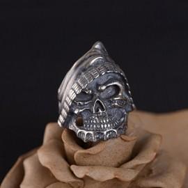 Men's Sterling Silver Pirate Skull Ring