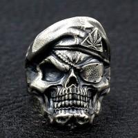 Men's Sterling Silver One-Eyed Skull Ring