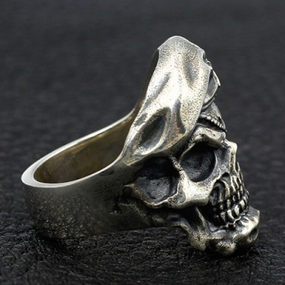Men's Sterling Silver One-Eyed Skull Ring