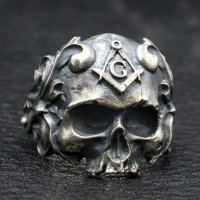 Men's Sterling Silver Masonic Skull Ring