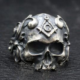 Men's Sterling Silver Masonic Skull Ring