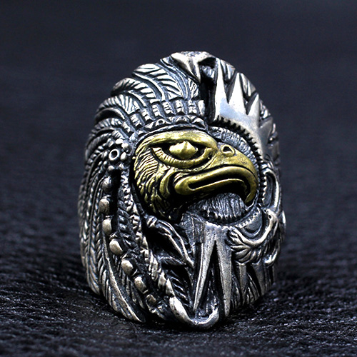 Men's Sterling Silver Indian Chief Eagle Ring