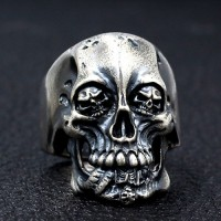 Men's Sterling Silver Skull Eyes Skull Ring