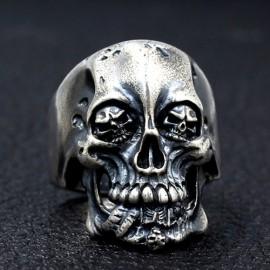 Men's Sterling Silver Skull Eyes Skull Ring