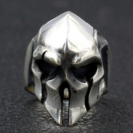 Men's Sterling Silver Spartan Mask Skull Ring
