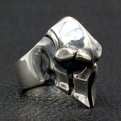 Men's Sterling Silver Spartan Mask Skull Ring