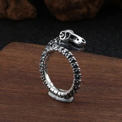 Men's Sterling Silver Dinosaur Skull Ring
