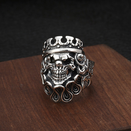 Men's Sterling Silver Clown Skull Ring