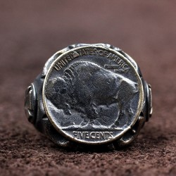 Men's Sterling Silver Buffalo Coin Ring