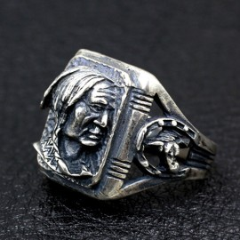 Men's Sterling Silver Native American Avatar Ring