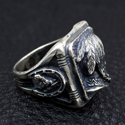 Men's Sterling Silver Native American Avatar Ring