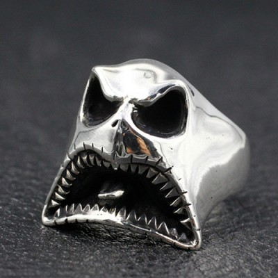 Men's Sterling Silver Ghost Skull Ring