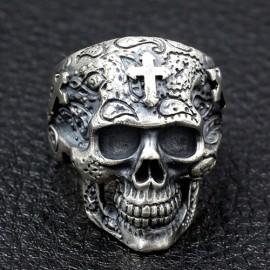 Men's Sterling Silver Crosses Carved Skull Ring