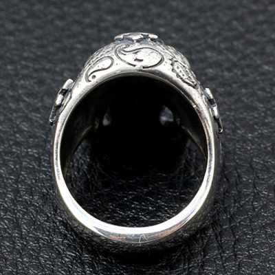 Men's Sterling Silver Crosses Carved Skull Ring