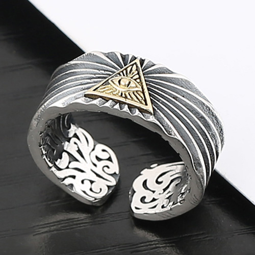 Men's Sterling Silver All-Seeing Eye Ring