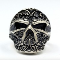 Men's Sterling Silver Ninja Skull Ring