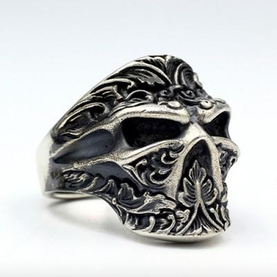 Men's Sterling Silver Ninja Skull Ring