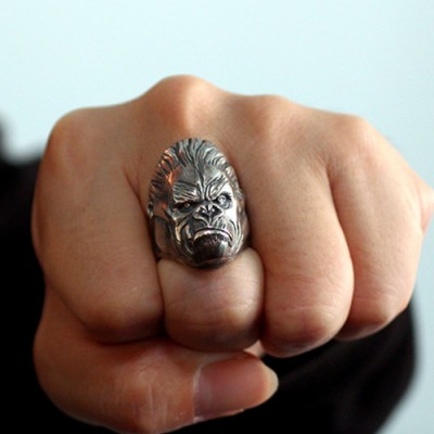 Men's Sterling Silver King Kong Ring