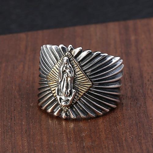 Men's Sterling Silver Virgin Mary Ring