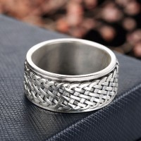 Men's Sterling Silver Braided Pattern Spinner Ring