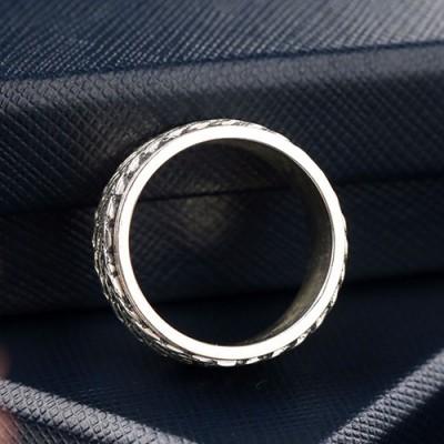 Men's Sterling Silver Braided Pattern Spinner Ring