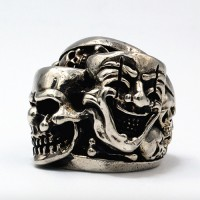 Men's Sterling Silver Joker Skull Ring