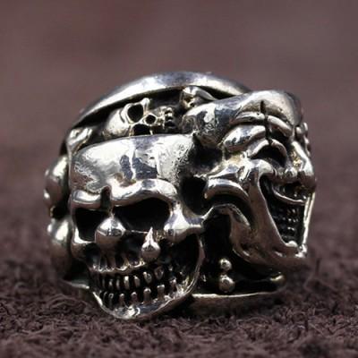 Men's Sterling Silver Joker Skull Ring