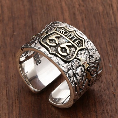 Men's Sterling Silver Route 66 Ring