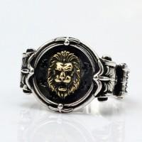 Men's Sterling Silver Lion Head Ring