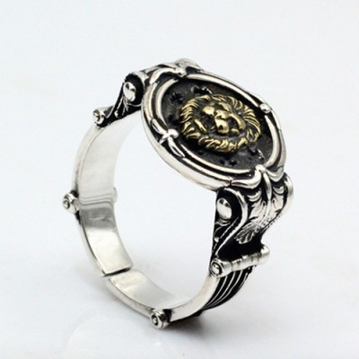 Men's Sterling Silver Lion Head Ring