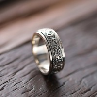 Men's Sterling Silver Six True Words Mantra Spinner Ring