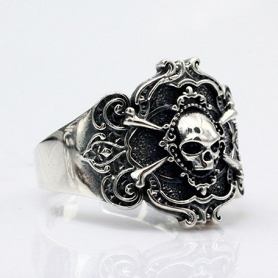 Men's Sterling Silver Pirate Skull Ring
