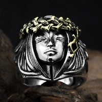 Men's Sterling Silver Goddess of Fortune Ring