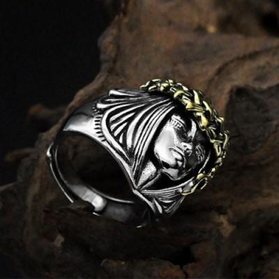 Men's Sterling Silver Goddess of Fortune Ring