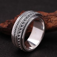 Men's Sterling Silver Wheat Pattern Spinner Ring