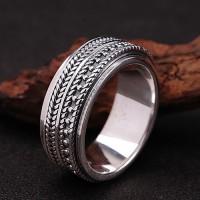 Men's Sterling Silver Wheat Pattern Spinner Ring