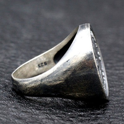 Men's Sterling Silver Mangano Coin Ring