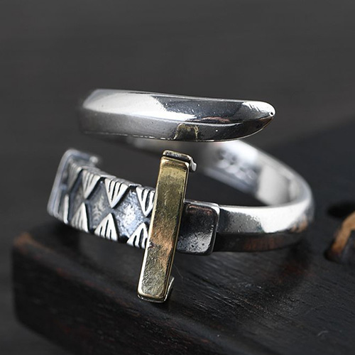 Men's Sterling Silver Sword Wrap Ring