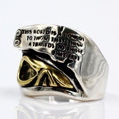 Men's Sterling Silver Lettering Skull Ring