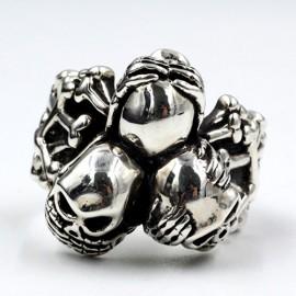 Men's Sterling Silver See No Hear No Speak No Evil Skull Trio Ring